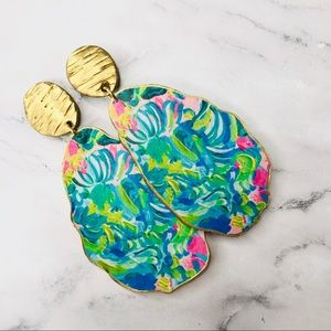 Lilly Pulitzer Painted Lion Drop Dangle Earrings